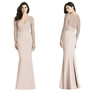 Dessy Collection Illusion-Back Lace Trumpet Gown